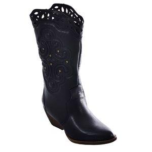 XOXO IVA Womens Leather Cutouts Around Calf Boots